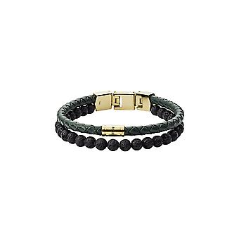 Fossil Herrenarmband Duo Green Leather and Lava Stone (JF03255710)