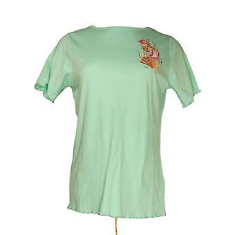 Quacker Factory Women's Top Knit Tee w/ Lettuce Edge Green A352898