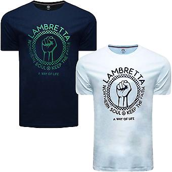 Lambretta Mens Keep The Faith Logo Short Sleeve Crew Neck Cotton T-Shirt Tee Top