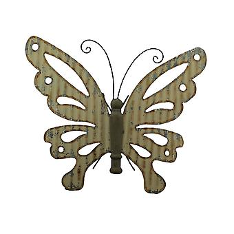 Country Beige Galvanized Metal Art and Wood Butterfly Wall Hanging Sculpture