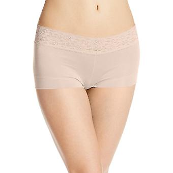 Maidenform Women's Dream Cotton with Lace Boyshort,, Latte Lift, Size Small