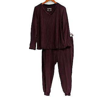 Anybody Women's Petite Pajama Set Cozy Knit & Velour Burgundy Red A345312