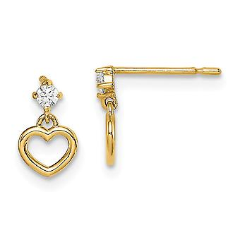 14k Madi K CZ Cubic Zirconia Simuleret Diamond Love Heart Dingle Post Øreringe smykker Gaver til kvinder