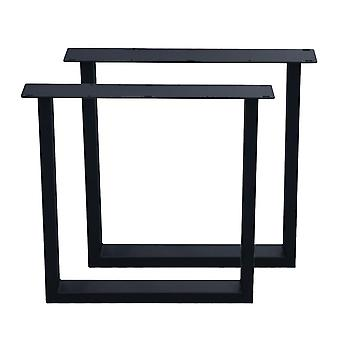Mustat U-pöydän jalat 72 cm (putki 10 x 4)
