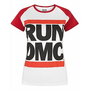 Run DMC Logo White Women's Raglan T-Shirt