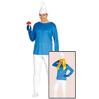 Mens Blue Dwarf Fancy Dress Costume Schtroumpf