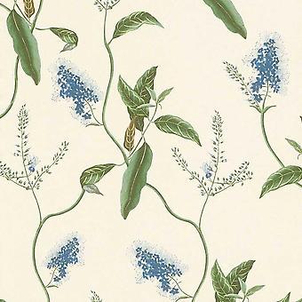 Botanical Leaves Wallpaper Rasch Blue Green Textured Paste The Wall Vinyl