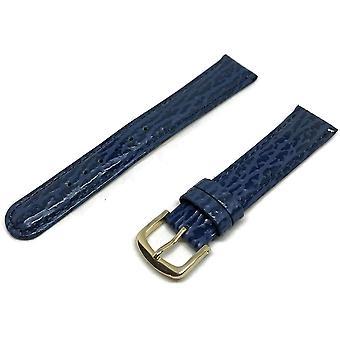 Shark grain watch strap padded dark blue gold plated buckle size 2mm to 18mm