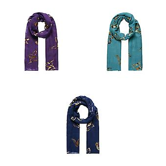 Intrigue Womens/Ladies Metallic Butterfly Printed Scarf