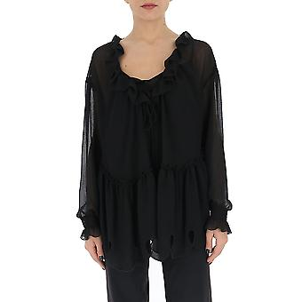 See By Chloé Chs20uht18025001 Women's Black Silk Blouse