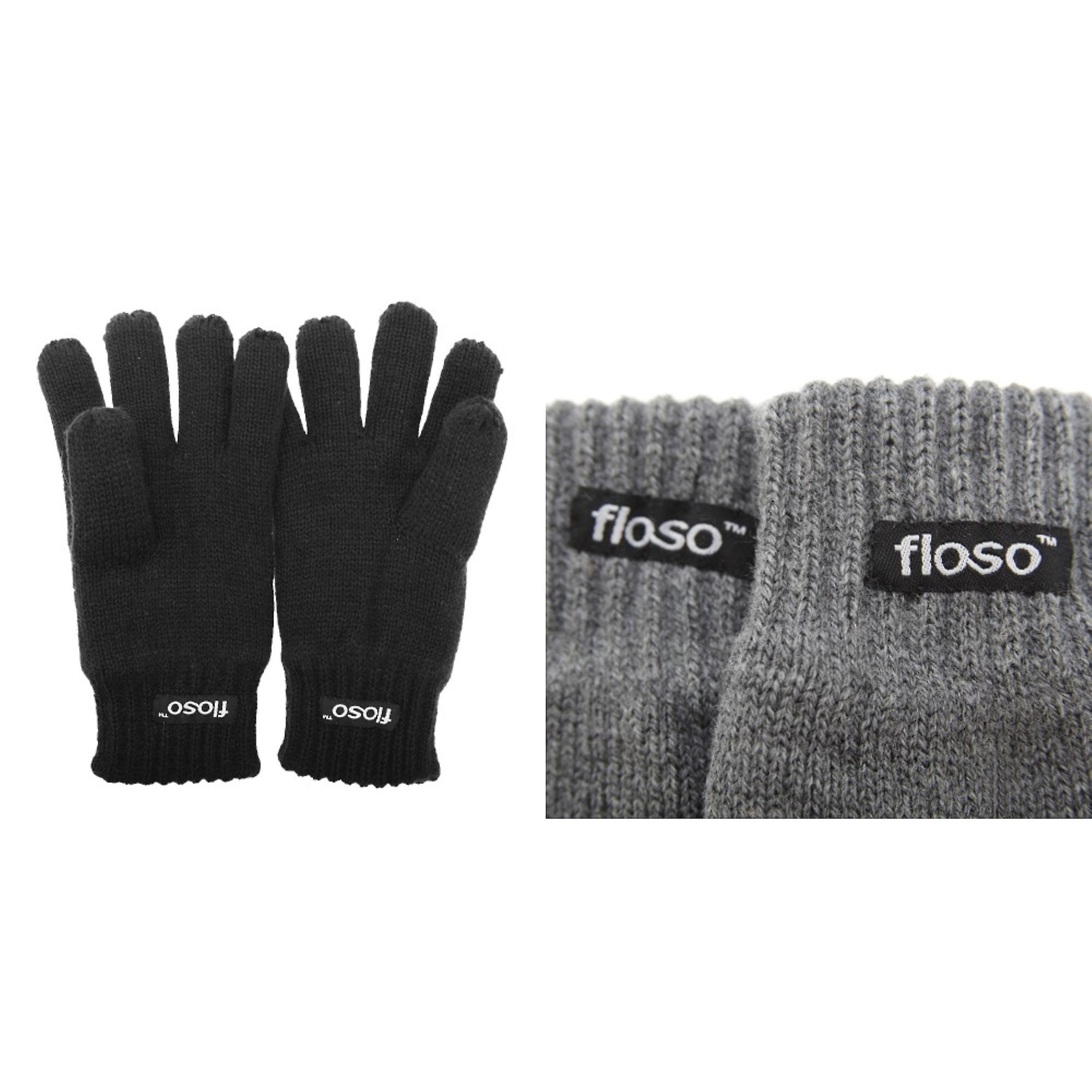 Black 3M 40g 10-11 Years FLOSO Childrens Unisex Knitted Thermal Thinsulate Gloves