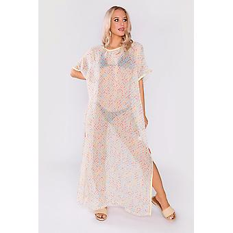 Kaftan alison short sleeve sheer maxi dress cover-up in blue & coral