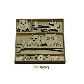CraftEmotions Tre ornament boks ugler 30 stk - boks 10,5 x 10,5 cm
