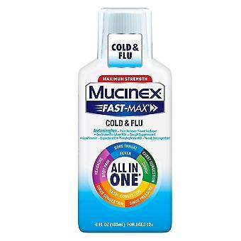 Mucinex fast-max cold & flu maximum strength liquid, 6 oz