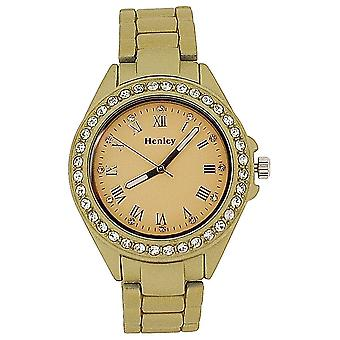 Henley Ladies Diamante Bezel Champagne Dial Matt Goldtone Rubberised Watch H07202.2