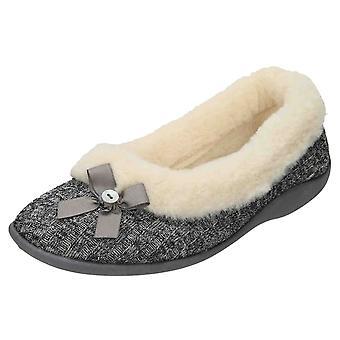 Four Seasons Grey Slip On Plush Slipper Ballerina House Shoe