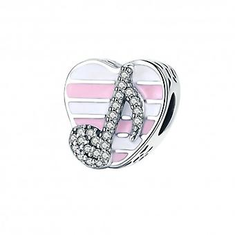 Sterling Silver Charm Music Note Heart - 5389