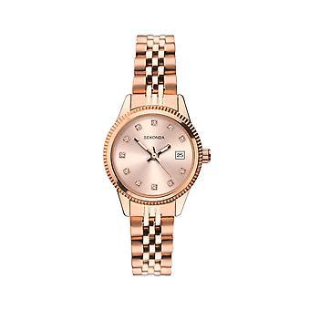 Sekonda Ladies 'Serenity' Round Rose Crystal Set Dial Rose Gold Bracelet Watch 2764