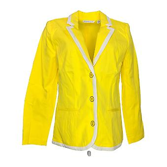 Isaac Mizrahi Live! Women's Blazer 24/7 Stretch Tipped Yellow A260924