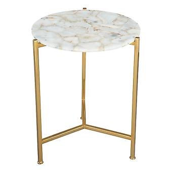 """17.3"""" x 17.3"""" x 20"""" Agate and Gold Agate Iron Side Table"""