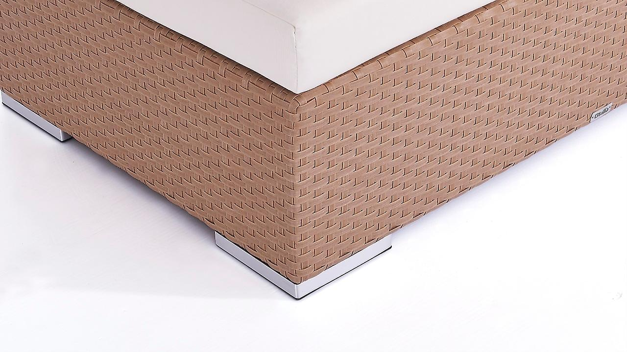 Polyrattan Cube Hocker 50 cm - karamell