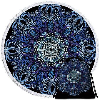 الأرجواني الأزرق ماندالا منشفة الشاطئ