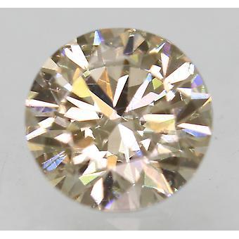 Cert 0.73 Ct Yel Brown VVS2 Round Brilliant Enhanced Natural Diamond 5.73mm 3EX