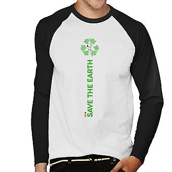 Peanuts Snoopy Save The Earth Men's Baseball Long Sleeved T-Shirt