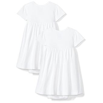 Moon and Back Baby Girls Set of 2 Organic Short-Sleeve Dresses, White Cloud, ...