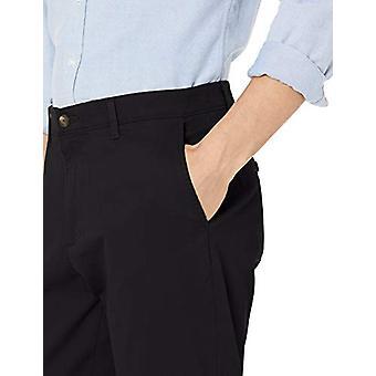 Essentials Men's Athletic-Fit Casual Stretch Khaki Pant, Black, 32W x 29L