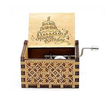 Happy Birthday Vintage Wood Carved Musical Box Crafts Gifts For Birthday