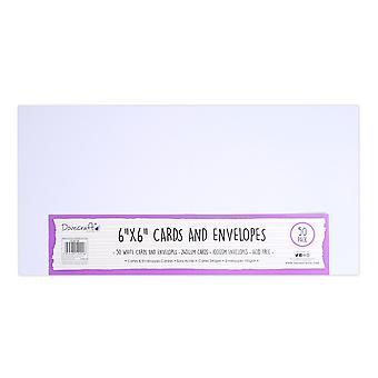 Cartes et cartes 6x6 pouces Dovecraft White 6x6 Inch; Enveloppes (50pcs) (DCBS198)