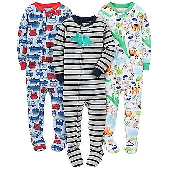 Simple Joys de Carter's Baby Boys' 3-Pack Snug-Fit Footed Cotton Pajamas,...