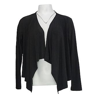 Attitudes van Renee Women's Top Draped Front Cardigan Black A306555