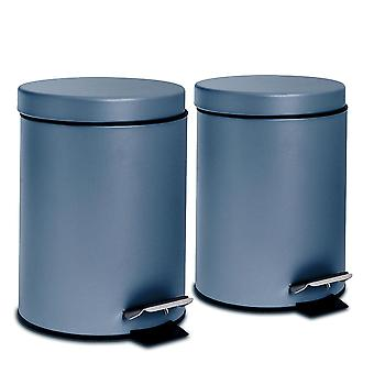2 Piece 3 Litre Bathroom Pedal Bin With Inner Bucket - Matte Blue