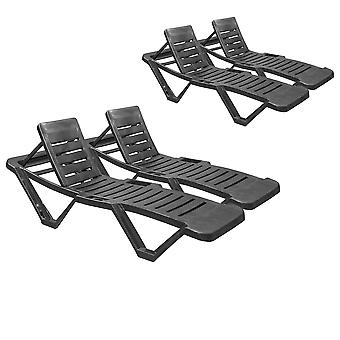 Resol Master Garden Sun Lounger Bed - Adjustable Reclining Outdoor Summer Furniture - Grey - Pack of 4