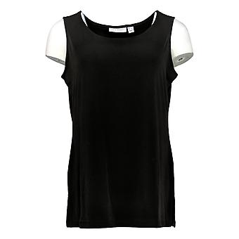 Susan Graver Women's Petite Top Liquid Knit Tank Solid Black A366175