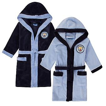 Manchester City Boys Dressing Gown Robe Hooded Fleece Kids OFFICIAL Football
