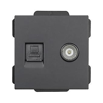 52*52 Tv+internet Socket Function Module Accessories Suitable For 86*86 Panels