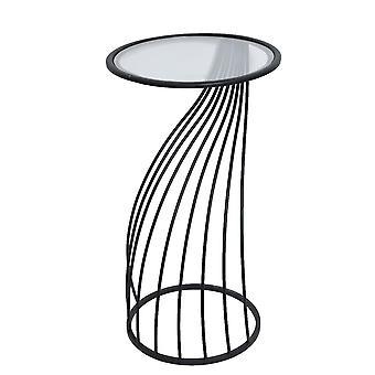 Pöytä musta metalli/lasi 40x73 cm