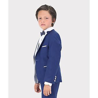Boys Exclusive Dark Blue & White Single Button Tuxedo Suit