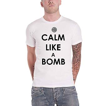 Rage Against The Machine T Shirt Calm Like A Bomb Band Logo Official Mens White