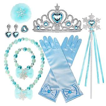 Kids 10 Pcs Frozen Elsa Girls Inspired Crown Magic Wand Gloves Accessories Set