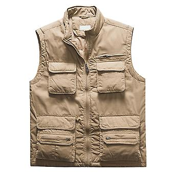 YANGFAN Mens Casual Multi Pocket Vest Cotton Stand Collar Solid Color Waistcoat