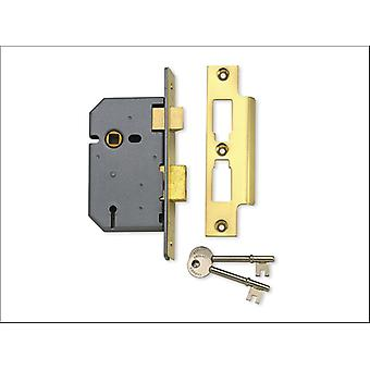 Yale 3 Lever Mortice Lock Brass Plated 3in P-M320-PB-78