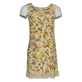 LOGO Layers Par Lori Goldstein Women-apos;s Top Floral W/ Lace Yellow A346419