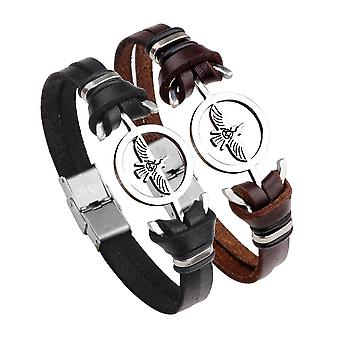 Fashion Stainless Steel Eagle Charm Genuine Leather Bracelet Men Jewelry