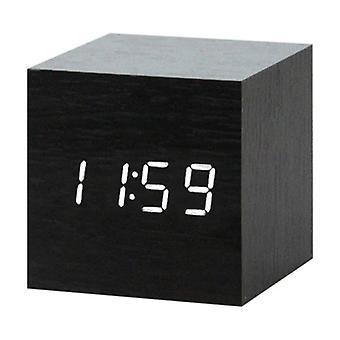 July's Song Wooden Digital LED Clock - Alarm Clock Alarm Snooze Brightness Adjustment Black