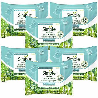 6 x 20 Wipes Simple Daily Skin Detox Matte & Clear Wipes For Oily Skin
