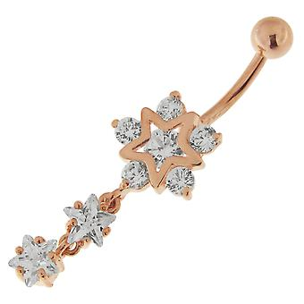 3 Micron 18K Rose Gold Plated Clear CZ Stone Triple Star Dangling Sterling Silver Belly Bars Piercing